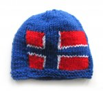 "KSS Blue Small Beanie with a Norwegian Flag 14-15"" (6 Months) HA-676"