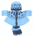 KSS Light Blue Fair Isle Sweater, Hat and Booties (3 Months) SW-481 KSS-SW-481-FI3-AZ
