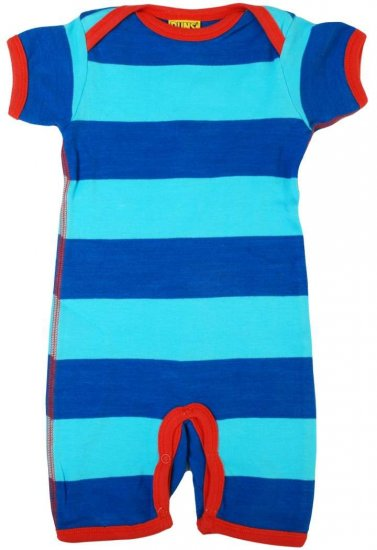 DUNS Organic Cotton Turqoise / Blue Shortsleeve Striped Onesie