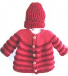 KSS Copper/Red Knitted Sweater/Jacket & Hat (2 Years/2T)