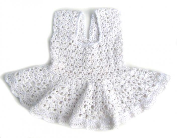 KSS White Crocheted Cotton Dress for Baby 12 Months