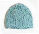 "KSS Aqua/White Cotton Winter Beanie 12-13"" (3-6 Months) KSS-HA-647"