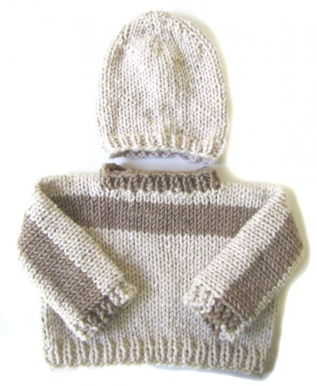 KSS Wheat and Brown Sweater with a Hat (9 - 12 Months)