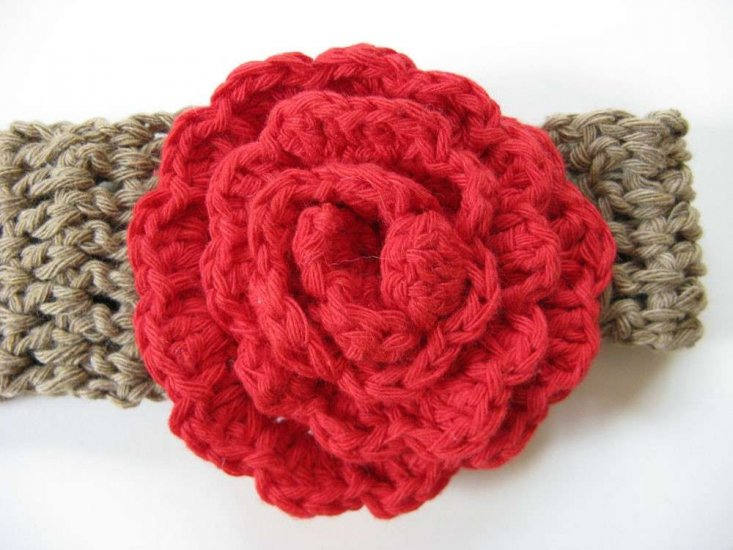 KSS Green Cotton Headband with Red Flower 15-17""