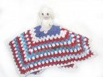 KSS Crocheted Red, White and Blue Rabbit Blanky 14x14 Inches KSS-TO-075