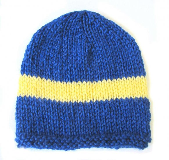 KSS Blue Beanie with Swedish Colors 15-17 inch (L/6-18 Months)