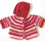 KSS Crocheted Red/White Stripe Sweater/Cardigan (6 - 9 Months) KSS-SW-408-EB