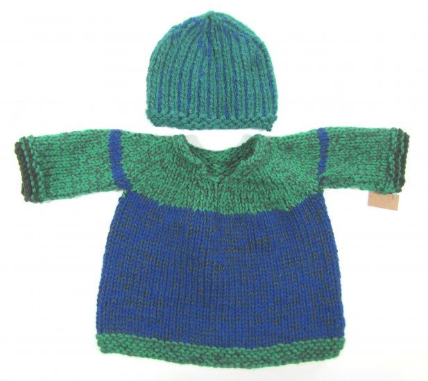 KSS Blue/Green Pullover Sweater with a Hat (9 Months)