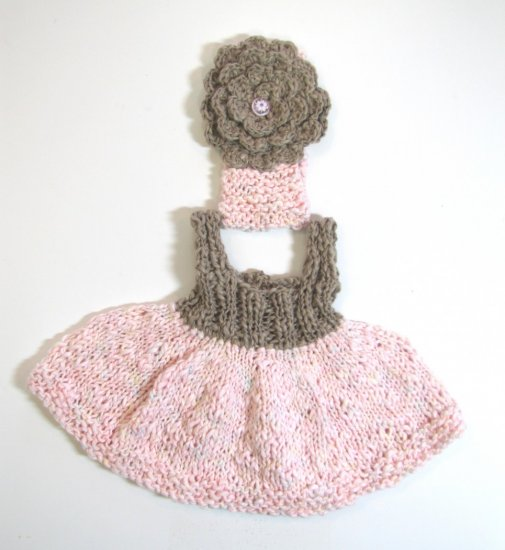 KSS Pink and Taupe Knitted Dress and Headband 3 months