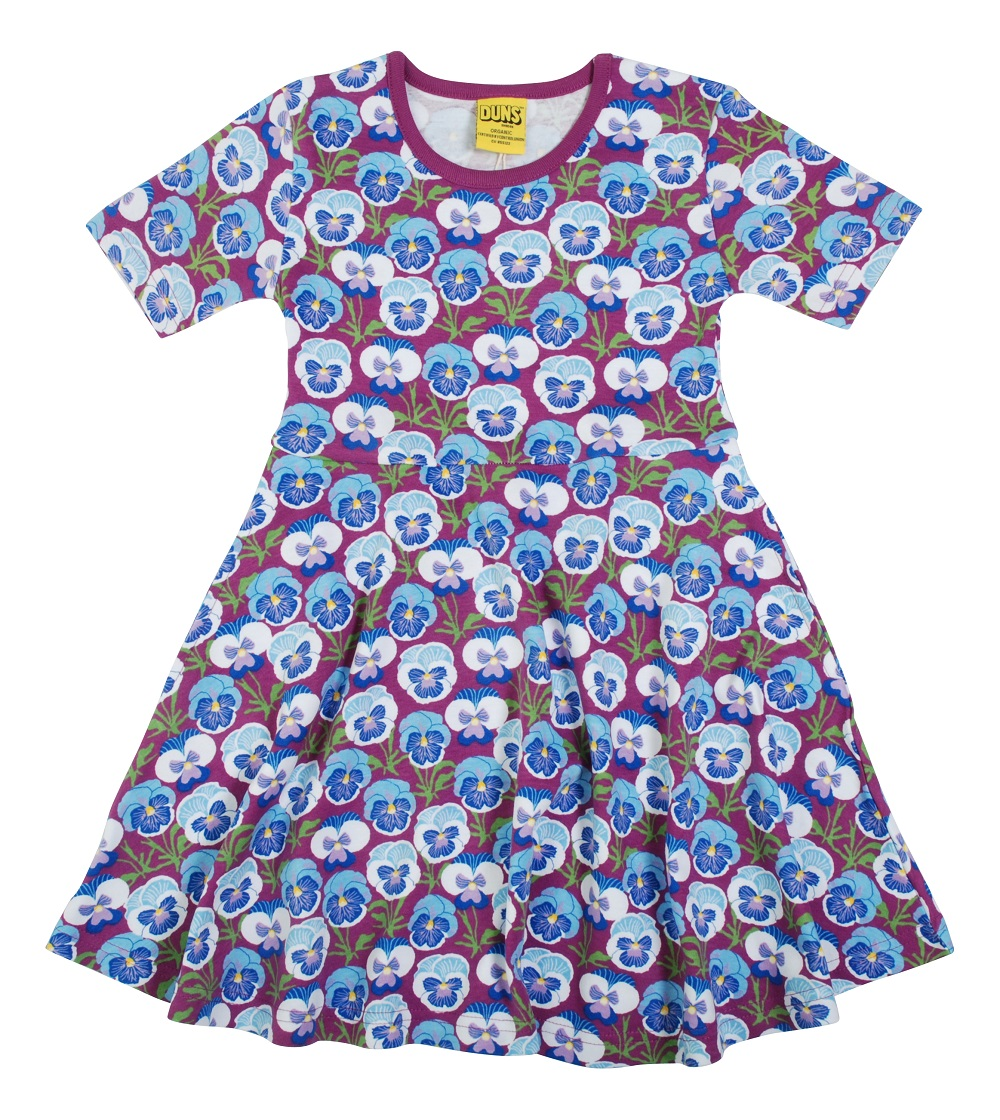 "DUNS Cotton ""Pansy Hyacinth\"" Short Sleeve Skater Dress (122cm/6-7Years)"