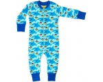 DUNS Organic Cotton Sharky sky Blue Long Zip Suit (110cm/5-6 Years) DUNS-SHLZiP116