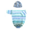 KSS Knitted Striped Baby bag in blue colors 0 - 6 Months KSS-BB-052-ET