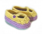 KSS Multi Color Cotton Crocheted Mary Jane Booties (6 Months)