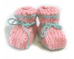 KSS Boxed Pink/Mint Green Knitted Booties (6 Months) KSS-BO-100