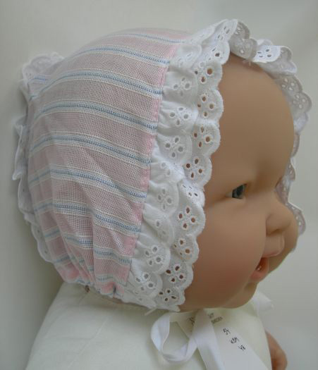 KSS Pink/White Colored Bonnet type Cap Size 48 (6 Months)
