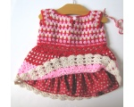KSS Pink & Red Colored Toddler Crocheted Dress 2T
