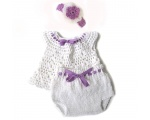 KSS Crocheted White Baby Dress and Panty 0-3 Months