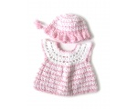 KSS Pink/White Crocheted Dress and Hat 6-9 Months