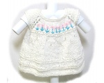 KSS Knitted Natural Baby Dress with Flowers (9 Months)
