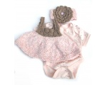 KSS Pink and Taupe Knitted Dress and Headband 3 months KSS-DR-145-AZ