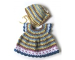 KSS Striped Crocheted Dress and Hat 3 Months