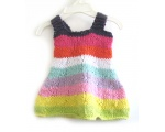 KSS Baby Knitted Pastel Rainbow Cotton Dress and Hat 6 Months KSS-DR-152