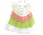 KSS Peach/Green/White Crocheted/Knitted Dress (18 Months)