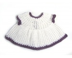 KSS Baby Crocheted White/Purple Cotton Dress 3 Months KSS-DR-156-EB