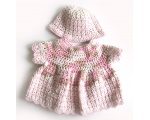 KSS Crocheted Pink/White Cotton Baby Dress and Hat 6-9 Months KSS-DR-159-EBK