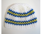 KSS White Beanie with Swedish Colors 13-15 inch (M/3-9 Months) KSS-HA-469