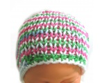 "KSS Pink/Green/White Striped Beanie 11-13"" (0-3 Months)"