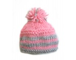 "KSS Pink/Grey Knitted Hat with Pom Pom 13-15"" (3 Months)"