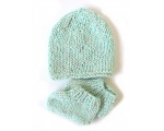 KSS Aqua Green Knitted Booties and Hat set (6 Months) KSS-HA-506
