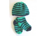 KSS Blue/Green Booties and Hat Set (3 Months)