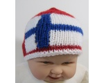 "KSS Red Knitted Cap with Finnish Flag 14"" 0-12 Months"