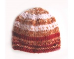 "KSS Soft Red/Copper/Pink Striped Beanie Hat 14"" (3 Months) KSS-HA-581"