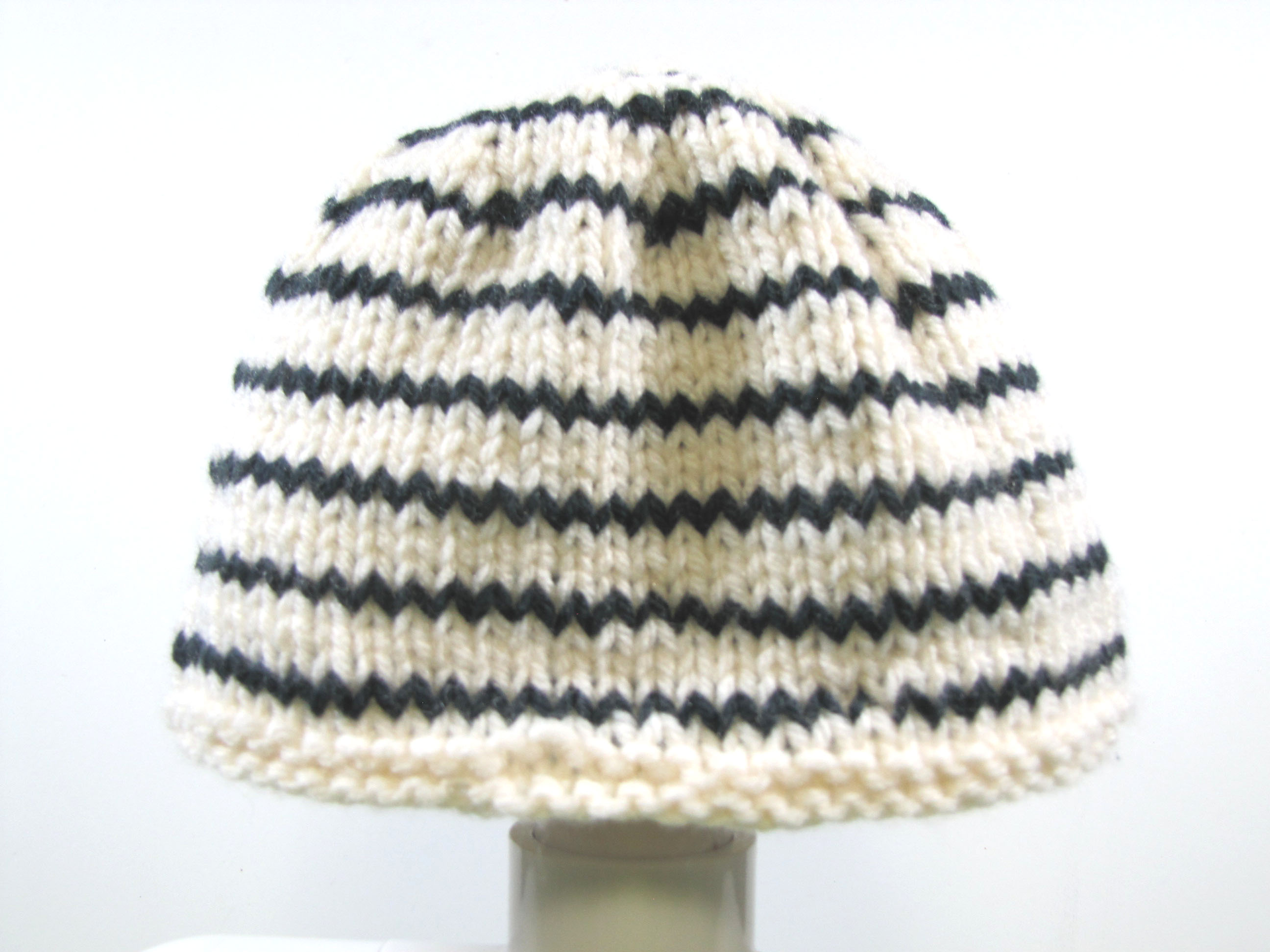 "KSS Medium Weight White Striped Beanie Knitted Cap15"" (6 Months) HA-692"