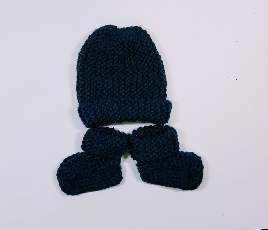 KSS Navy Booties and Hat Set (3 Months) KSS-HA-698