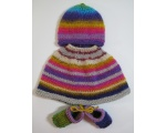 KSS Multicolored Baby Poncho, Booties and Hat (3 Months)