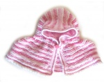 KSS Pink/White Colored Baby Poncho 0 - 2 Years KSS-PO-009