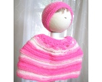 KSS Pink/White Baby Poncho and Hat (6 Months) KSS-PO-011