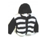 KSS Black/White Crocheted Sweater/Jacket and Hat (3-4 Years)