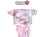 KSS Pink/White Cotton Short Sleeve Sweater (9 Months) KSS-SW-123-3PC-EB