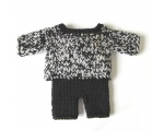 "KSS Heavy Black/White Sweater and Pants for 18"" Doll or Newborn KSS-SW-149-EBK"