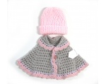 KSS Grey and Pink Sweater Vest Cape & Hat 6 Months KSS-SW-374-EBK