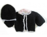 KSS Black Sweater/Cardigan with a Hat 3 Months