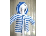 KSS Blue/White Striped Sweater/jacket and Beret (3 Months)