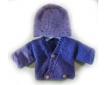 KSS Purple Wrap Sweater/Cardigan with a Hat Newborn - 3 Months