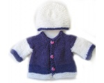KSS Purple/White Sweater/Cardigan with a Hat Newborn