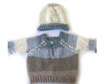 KSS Beige/Blue Pullover Sweater with a Hat (12 Months)